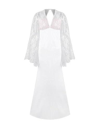 Donna Pizzo Maniche Lunghe Colore Solido Elegante Paillettes Lungo Cocktail Vestito Bianco S