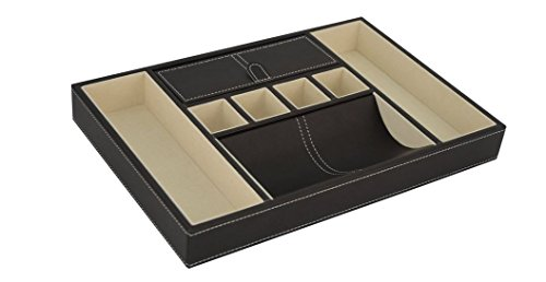 Executive High class Leatherette Valet Tray Organizer for Men's Gift (Umber) -