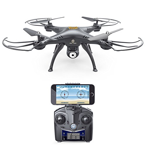 Holy Stone HS110 Wifi FPV Drone with Adjustable HD Camera Live Video RC Quadcopter with Altitude Hold, App Control and 3D VR Headset Compatible, RTF Easy to Fly for Beginner and Expert
