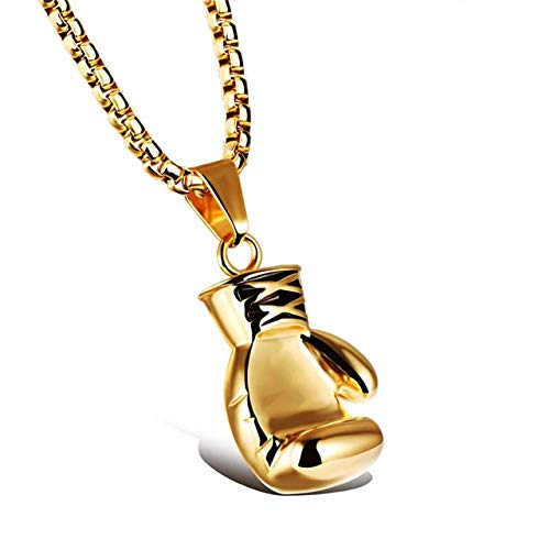 (Gimax Gold/Black/Silver Plated Fashion Mini Boxing Glove Necklace Stainless Steel Boxing Jewelry Cool Lovers' Pendant Necklace - (Metal Color: Male))