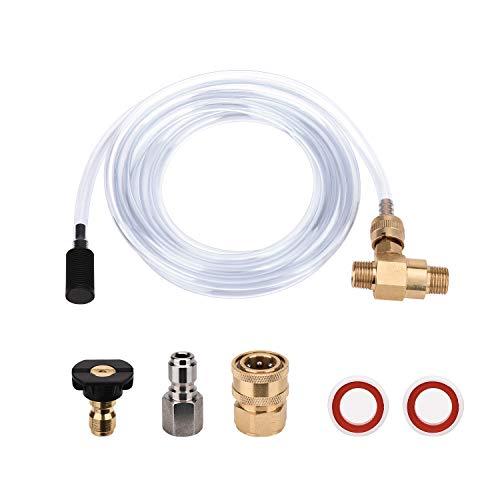 FUNTECK Pressure Washer Chemical Injector Kit Adjustable Soap Dispenser, 3/8 inch Quick Connect, 10 FT Siphon Hose, Come with a Black Soap Nozzle and Teflon Tape