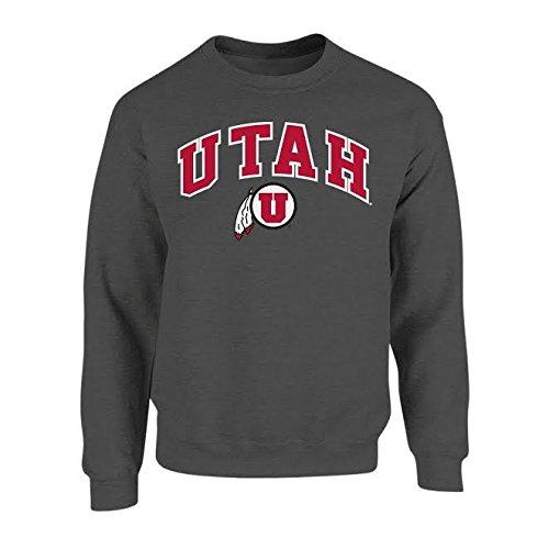 (Elite Fan Shop NCAA Men's Utah Utes Crewneck Sweatshirt Dark Heather Arch Utah Utes Dark Heather Large)