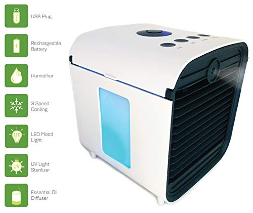 (Spantron Portable Air Conditioner Fan - Best 5-in-1 Personal Home & Office Desk Swamp Cooler, Mist Diffuser, Humidifier with LED Light and UV Purifier | USB Plug & 2 Hour Rechargeable Battery)