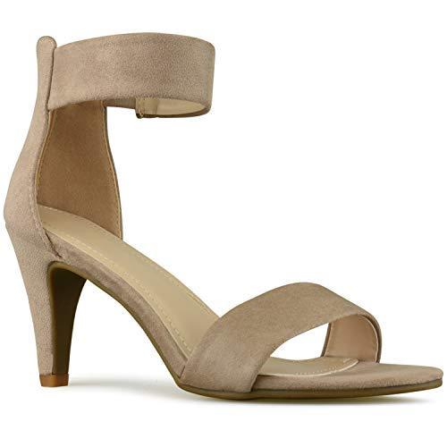 Premier Standard - Women's Low Ankle Strap Kitten Heel - Essential Mid Heel Open Toe Dress Sandal, TPS2019100081 Taupe Su Size 8.5