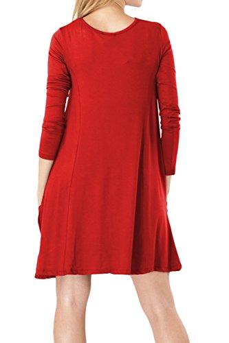 Cuello Túnica nbsp;colores Xxxxl Larga Mini De Xs T Sin 14 Mujer Vestido Rojo Casual Redondo Manga Yming xwZRvq0Tn