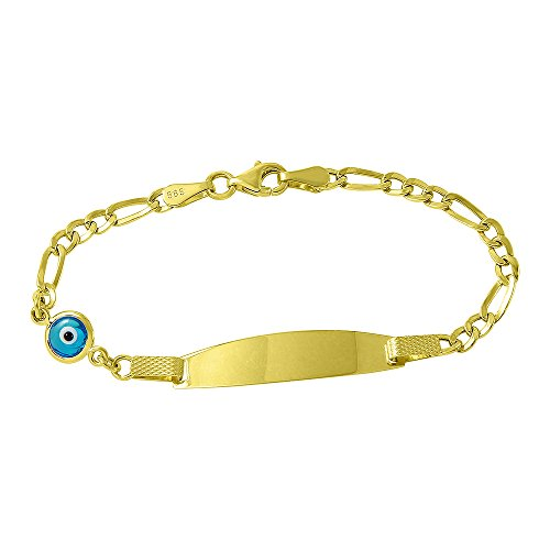 Polished 14k Gold Dainty Blue Evil Eye Baby Bracelet with Figaro Chain Link 5.5'' by Evil Eye by Jewelry America