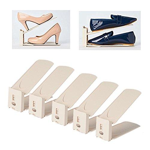 HARRA HOME Shoe Slots 3step Adjustable space saver organizer, Premium Shoes slotz holder, Double shoe rack storage, Set of 5 (Ivory)