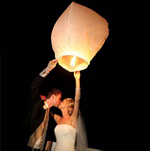 50 PCS || White flying Chinese Paper Lanterns Sky Fire Fly Candle Lamp for Wish Wedding || White color || Make a wish and release into the sky || by ★★★ Royal ♛ Shop ★★★ for $<!--$29.94-->