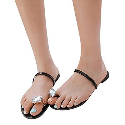Fheaven Womens Rhinestone Toe Ring Flat Shoes Anti Skidding Beach Shoes Sandals Slipper