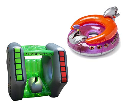 (Starfighter Super Squirter Inflatable Pool Toy bundle with Swimline UFO Squirter Pool Inflatable Lounge Float)