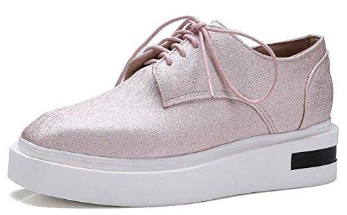 IDIFU Womens Comfy Platform Mid Heels Wedge Lace Up Sneakers Pink w2KkroGRkk