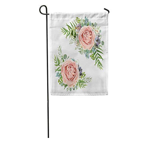 "Semtomn Seasonal Garden Flags 12"" x 18"" Floral Bouquet Garden Pink Peach Lavender Rose Wax Flower Outdoor Decorative House Yard Flag"