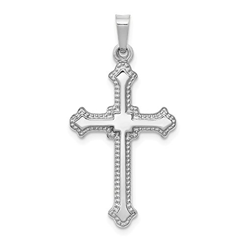 (14k White Gold Cross Religious Pendant Charm Necklace Fleur De Lis Fine Jewelry Gifts For Women For Her)