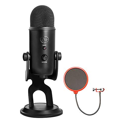 (Blue Microphones USB Microphone Four Pattern (YETIBLACKOUT) with Universal Pop Filter Microphone Wind Screen with Mic Stand Clip)