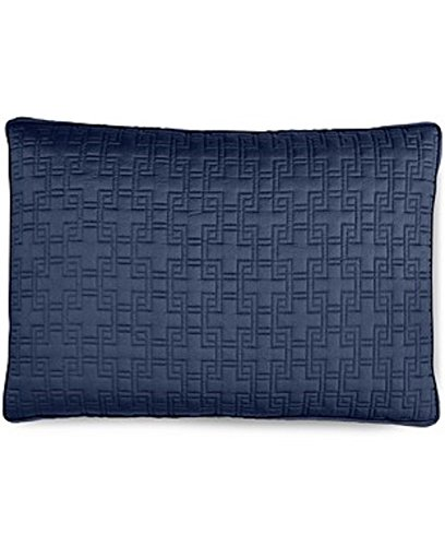 Hotel Collection Embroidered Frame Quilted Standard Pillow Sham Navy Blue ()