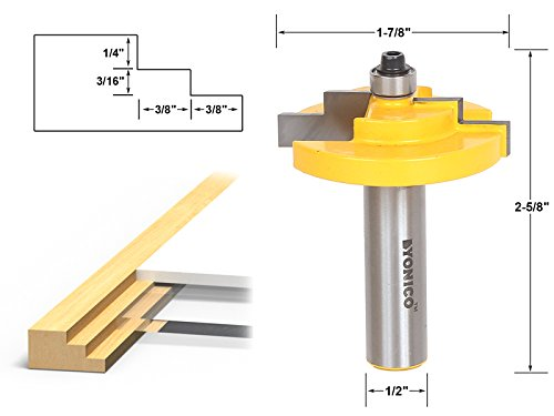 Yonico 18127 Picture Frame Stepped Rabbet Router Bit 1/2-Inch Shank