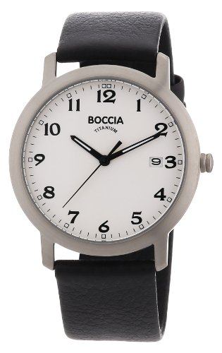Boccia B3544-01 Mens Titanium White Black Watch