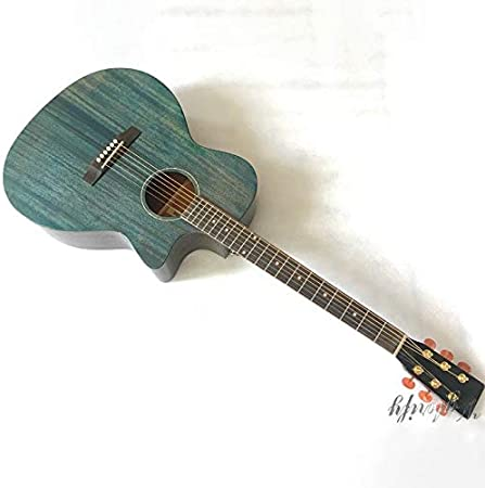 Guitarra acústica, 40 pulgadas, 6 cuerdas, 20 trastes, diseño vintage, color azul, pulido a mano, estuche de alto brillo: Amazon.es: Instrumentos musicales