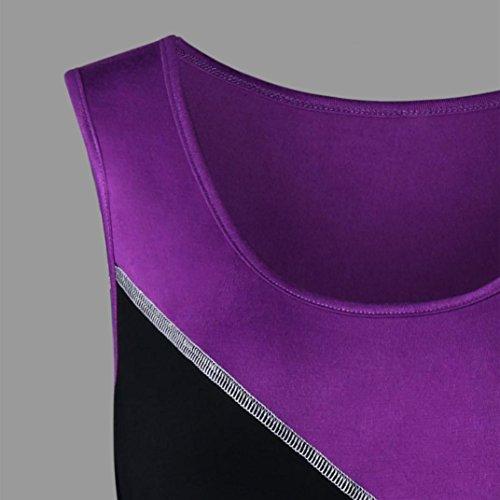 Shirt Col Taille Stitching Violet Chemisier Femmes Rond Gilet Sexyville Grande Vest sans T Manche Dbardeur Tops gqwBEITv