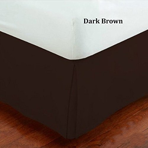 Fancy Collection Queen Size Easy Care Tailored Microfiber 14-inch Bed Skirt Solid Dark Brown (Dark Brown Bedskirt)