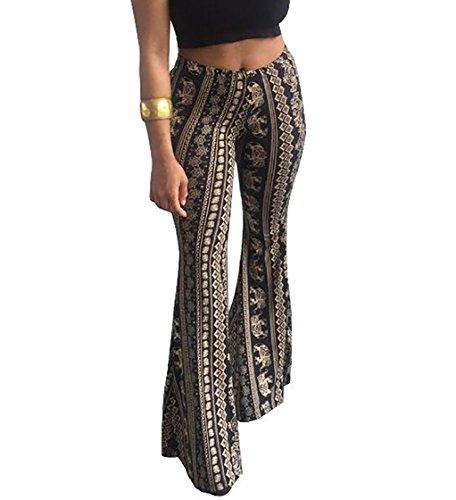 Jaycargogo Women Boho Print Stretch Bell Bottom Flare Palazzo Pants Trousers 1 S