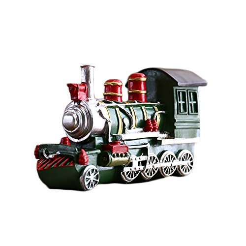 Colias Wing Home Decor Retro Style Vintage Train Shape Design Coin Bank Money Saving Bank Toy Bank Cents Penny Piggy Bank-Red/Green