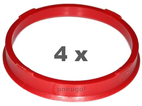 4/x Bague de Centrage plastique 73,1/mm vers 66.4/mm Rouge
