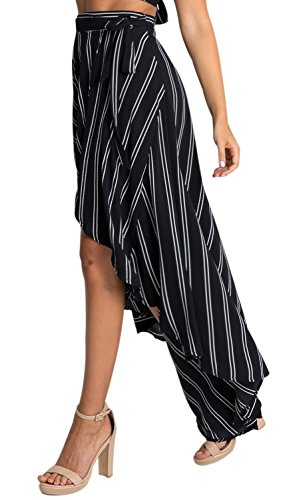 Women's High-waisted Boho Asymmetrical Hem Tie up Maxi Print Skirt (L, Black Stripe)