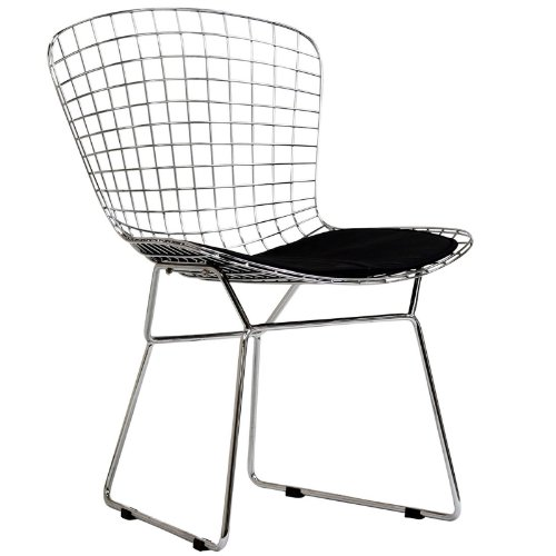 Modway Bertoia Style Side Chair with Black Cushion Bertoia Side Chair Seat Pad