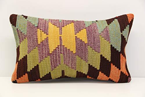 (Lumbar kilim pillow cover 12x20 inch (30x50 cm) Armchair Anatolian Pillow cover)