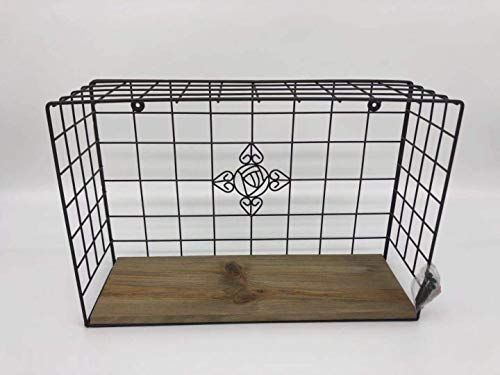 KeKaBox Decorative Desktop or Wall Mounted Bronze Metal Wire Grid Hanger, Wood Panel Display Shelf Rack with Floral Emblem