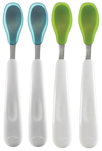OXO Tot Feeding Spoon Set, 4-Count (Blue/Green)
