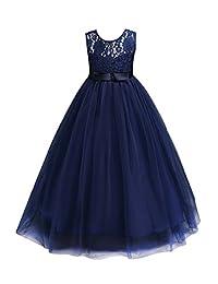 YMING Big Girls Lace Chiffon Bridesmaid Dress Dance Ball Party Maxi Gown