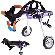 HiHydro Dog Wheelchair Lightweight Adjustable Pet Wheelchair with 2 Wheels for Back Legs Rehabilitation Protect Spin-Purple XS