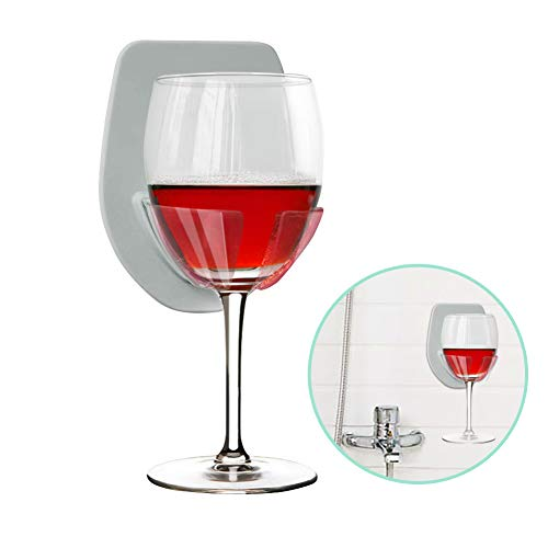 Gotega Wine Glass Holder Shower & Bath Suction Cup Wine Gifts Relaxation (Grey)