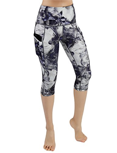 ODODOS High Waist Out Pocket Printed Yoga Capris Pants Tummy Control Workout Running 4 Way Stretch Yoga ()
