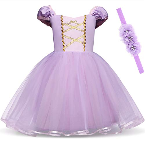 Princess Dresses (Elsa,Snow,Belle,Little Mermaid,Anna,Cinderella,Rapunzel,Aurora) Costumes for Toddler Girls(90CM/1-2Years,Rapunzel) -