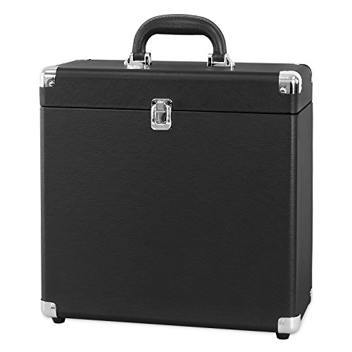 Victrola Vintage Vinyl Record Storage and Carrying Case, Fits All Standard Records - 33 1/3, 45 and 78 RPM, Holds 30 Albums, Perfect for Your Treasured Record Collection, Black