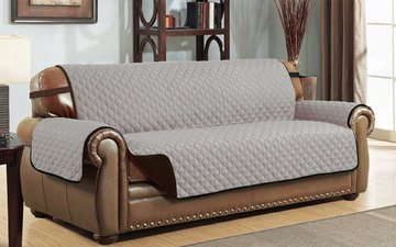 Beau Le Benton Reversible Sofa Cover, Quilted Pet Couch Slipcover, Elastic  Strap, Machine Washable