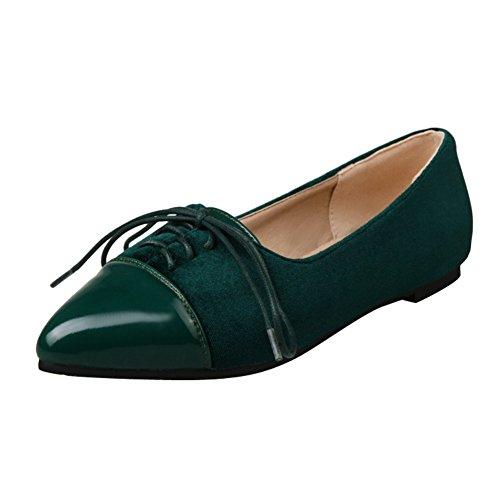 Latasa Kvinna Chic Snörning Pekade Tå Flats Shoes Mörkgrön