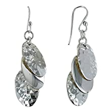 Les Poulettes Jewels - Sterling Silver Earrings Three Hammered Dragees