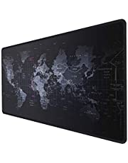 INPHIC Extended Gaming Mouse Pad Large with Anti-Fray Cloth and Water-Resistant,Mouse pad Map Computer Keyboard Mouse Mat, Comfort Textured Surface for Gamer, Office & Home - 35.43x15.75x0.12in -Black