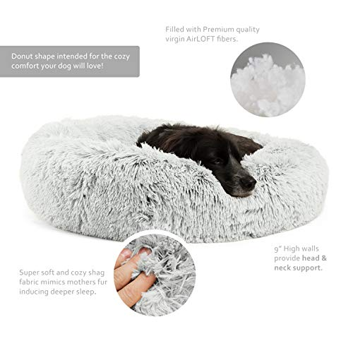 Best Friends by Sheri Luxury Shag Fur Donut Cuddler (30x30 Zippered, Frost) – Medium Round Dog & Cat Cushion Bed, Removable Shell, Warming, Cozy - Prime, Machine Washable - Medium Pets Up to 45lbs by Best Friends by Sheri (Image #1)