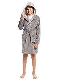 lonta kids Girls Boys Dinosaur Bathrobe Animal Pajamas Hooded Plush Sleep Robe 3-8 Years