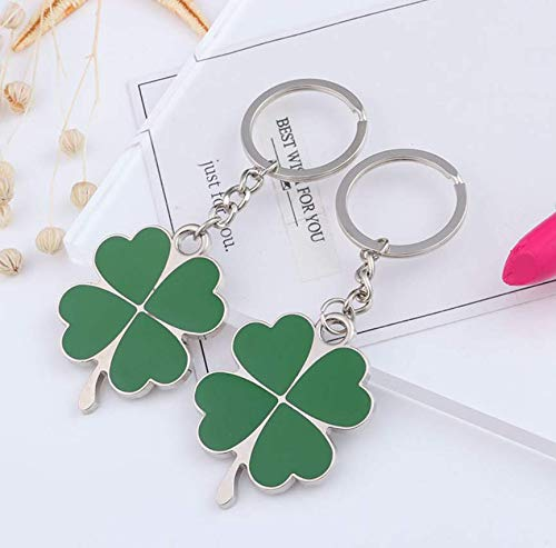 AG Goodies Silver and Green Color Zinc Alloy Four-leaf Clover Fortune Shamrock Keychain, Set of 2 (Four-leaf Clover)