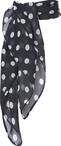 Sheer Chiffon Scarf Vintage Style Accessory for Women and Children (Black Polka Dot)]()