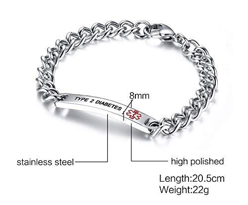 VNOX TYPE 2 DIABETES Bracelet Stainless Steel Medical Alert ID Bracelet for Unisex 8'' by VNOX (Image #3)