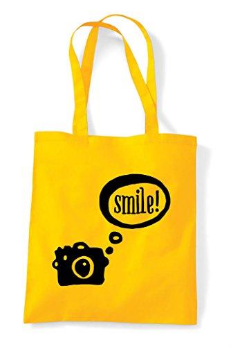 Tote Smile Camera Shopper Speech Yellow Bubble Bag AOOP7W
