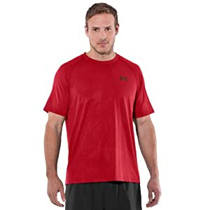 Mens Under Armour Tech Emboss T, Red/Red , S