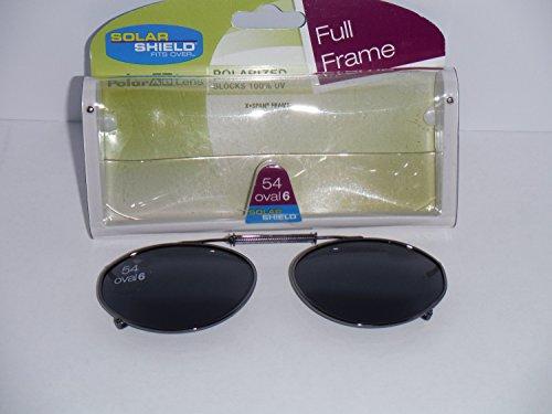 Solar Shield Polarized Clip on Full Frame Sunglasses 54 Oval - Oval On Clip Sunglasses